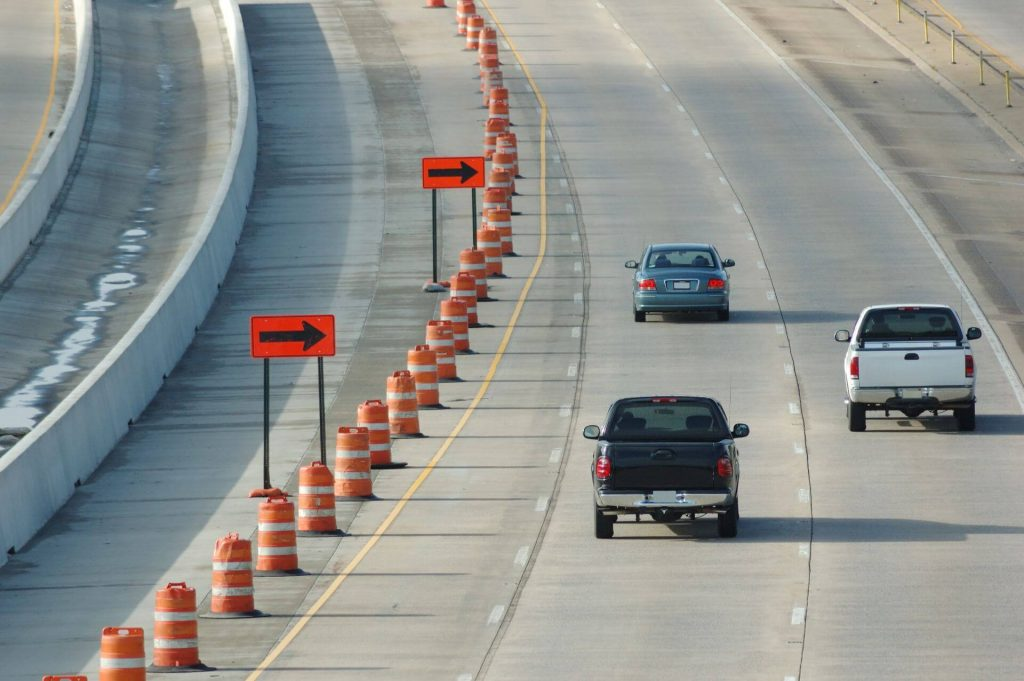 Traffic Cones Installed on Highway